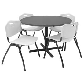 """Regency Table and Chair Set - 42"""" Round - Mocha Walnut Table / Gray Plastic Chairs"""