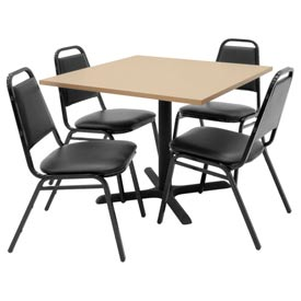 "36"" Square Table with Vinyl Chairs - Beige Table / Black Chairs"