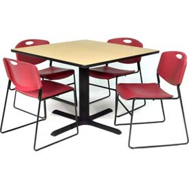 "36"" Square Table with Wide Plastic Chairs - Beige Table / Burgundy Chairs"