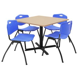 "36"" Square Table with Plastic Chairs - Beige Table / Blue Chairs"