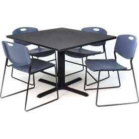 "36"" Square Table with Wide Plastic Chairs - Gray Table / Blue Chairs"