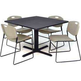 "36"" Square Table with Wide Plastic Chairs - Gray Table / Gray Chairs"