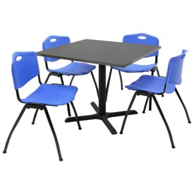 """36"""" Square Table with Plastic Chairs - Gray Table / Blue Chairs"""