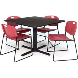 "36"" Square Table with Wide Plastic Chairs - Mocha Walnut Table / Burgundy Chairs"