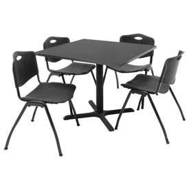 "Regency Table and Chair Set - 36"" Square - Mocha Walnut Table / Black Plastic Chairs"