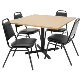 "42"" Square Table with Vinyl Chairs - Beige Table / Black Chairs"