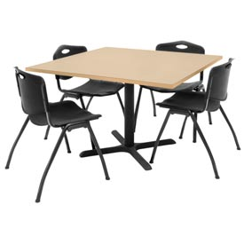 "42"" Square Table with Plastic Chairs - Beige Table / Black Chairs"