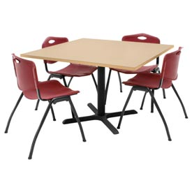 """42"""" Square Table with Plastic Chairs - Beige Table / Burgundy Chairs"""