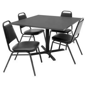 "42"" Square Table with Vinyl Chairs - Mocha Walnut Table / Black Chairs"