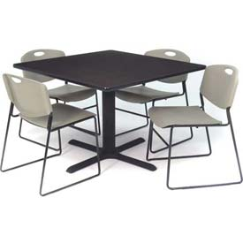 """Regency Table and Chair Set - 42"""" Square - Mocha Walnut Table / Gray Plastic Chairs"""