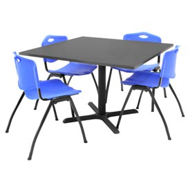 """42"""" Square Table with Plastic Chairs - Mocha Walnut Table / Blue Chairs"""