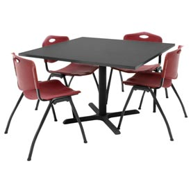 """42"""" Square Table with Plastic Chairs - Mocha Walnut Table / Burgundy Chairs"""