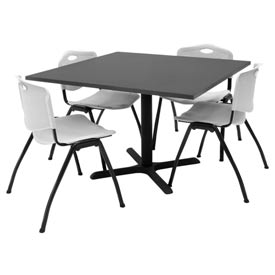 "42"" Square Table with Plastic Chairs - Mocha Walnut Table / Gray Chairs"