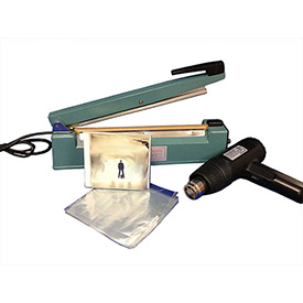 "Click here to buy Sealer Sales SWK-12-04CD Shrink Wrapping Kit w/ 500 CD Sized Shrink Bags, 12"" Sealer & Heat Gun."