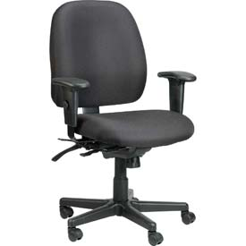 4X4 Task Chair, 49802ABLK, Black Fabric, Adjustable Arms