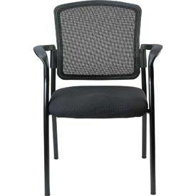 DAKOTA Side Chair, 7011-BLK, Black Fabric / Mesh, Non-Adjustable Arms
