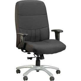 EXCELSIOR Executive High Back Chair, BM9000-CHAR, Charcoal Fabric, Non-Adjustable Arms