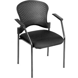 BREEZE Side Chair, FS9077, Black Fabric, Non-Adjustable Arms
