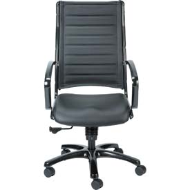 EUROPA Executive High Back Chair, LE111TNM-BLKL, Black Leather, Non-Adjustable Arms