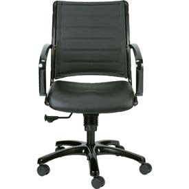 EUROPA Mid Back Chair, LE222TNM-BLKL, Black Leather, Non-Adjustable Arms