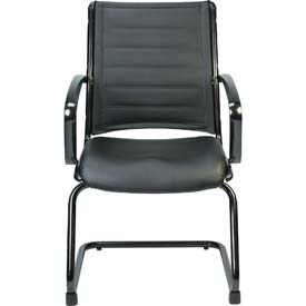 EUROPA Guest Chair, LE333TNM-BLKL, Black Leather, Non-Adjustable Arms
