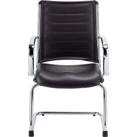 EUROPA Guest Chair, LE833-BLKL, Black Leather, Non-Adjustable Arms