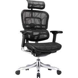 ERGO ELITE Executive High Back Chair, ME22ERGLT-BLK, Black Mesh, Adjustable Arms