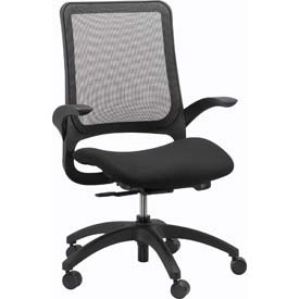 HAWK Task Chair, MF22-BLK, Black Fabric / Mesh, Non-Adjustable Arms