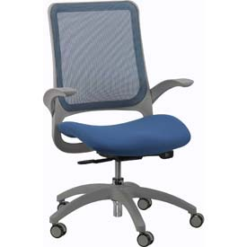HAWK Task Chair, MF22-BLUE, Blue Fabric / Mesh, Non-Adjustable Arms
