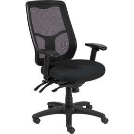 APOLLO Executive High Back Chair, MFHB9SL-BLK, Black Fabric / Mesh, Adjustable Arms