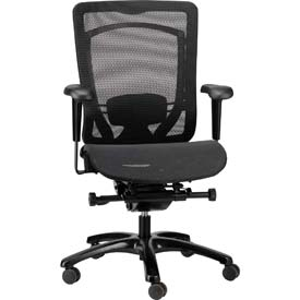 MONTEREY Mid Back Chair, MMSY55-BLK, Black Mesh, Adjustable Arms