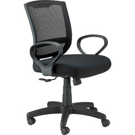 MAZE Task Chair, MT3000-BLK, Black Fabric / Mesh, Non-Adjustable Arms