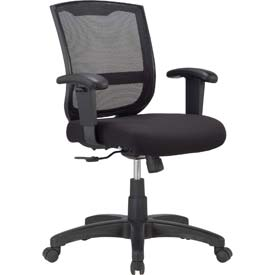 MAZE Task Chair, MT4500-BLK, Black Fabric / Mesh, Adjustable Arms