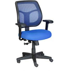 APOLLO Task Chair, MT9400-BLUE, Blue Fabric / Mesh, Adjustable Arms