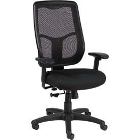 APOLLO Executive High Back Chair, MTHB94-BLK, Black Fabric / Mesh, Adjustable Arms