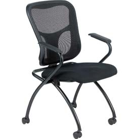 FLIP Side Chair, NT5000ARM-BLK, Black Fabric / Mesh, Non-Adjustable Arms, 2/PK - Pkg Qty 2