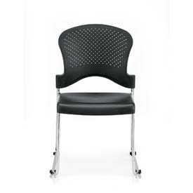 AIRE Side Chair, S3000-BLK, Black Polypropylene, Armless Arms, 4/PK - Pkg Qty 4