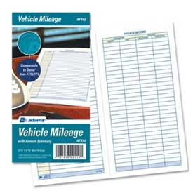 "Adams® Vehicle Mileage Journal, 3-1/4"" x 6-1/4"", White, 64 Sheets/Pad"