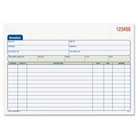 "Adams® Invoice Book, 2-Part, 8-7/16"" x 5-9/16"", White/Canary, 50 Sets/Pad"