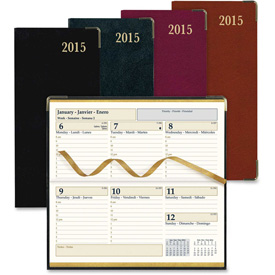 "Rediform Aristo Bonded Leather Weekly Executive Pocket Planners 7"" x 3-3/8"" x 3/8"" Assorted by"