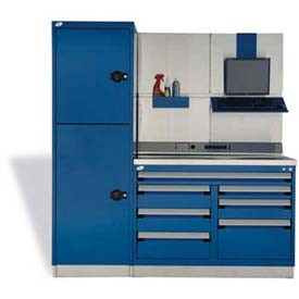 """Rousseau Metal GT Workcenter GT-C1042S_560, One Tool Box, 72""""W, Glossy Sapphire Blue"""