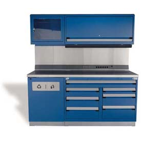 "Rousseau Metal GT Workcenter GT-C1052S_560, One Tool Box, 72""W, Glossy Sapphire Blue"