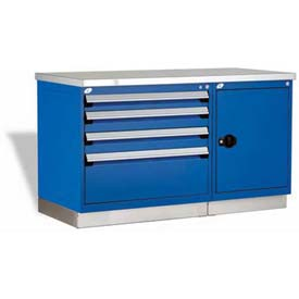 "Rousseau Metal Workbench For MED & SM Parts GT-XKG0004S_560, 2 Tool Boxes, 60""W, Glossy Sapphire BL"