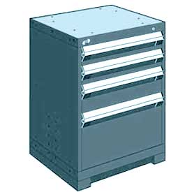 "Rousseau Metal Heavy Duty Modular Drawer Cabinet 4 Drawer Bench High 24""W - Everest Blue"