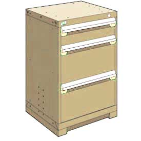 "Rousseau Metal Heavy Duty Modular Drawer Cabinet 3 Drawer Counter High 24""W - Beige"