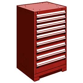 "Rousseau Metal Heavy Duty Modular Drawer Cabinet 9 Drawer Counter High 24""W - Red"