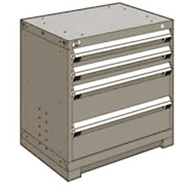 "Rousseau Metal Heavy Duty Modular Drawer Cabinet 4 Drawer Bench High 30""W - Light Gray"