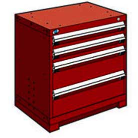 "Rousseau Metal Heavy Duty Modular Drawer Cabinet 4 Drawer Bench High 30""W - Red"
