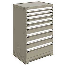 "Rousseau Metal Heavy Duty Modular Drawer Cabinet 8 Drawer Counter High 30""W - Light Gray"