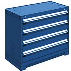 """Rousseau Metal Heavy Duty Modular Drawer Cabinet 4 Drawer Bench High 36""""W - Avalanche Blue"""